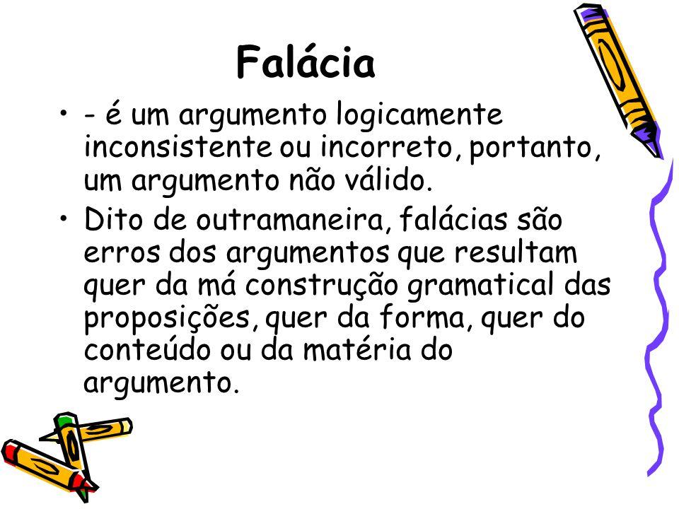 Falácia - é um argumento logicamente inconsistente ou incorreto, portanto, um argumento não válido.