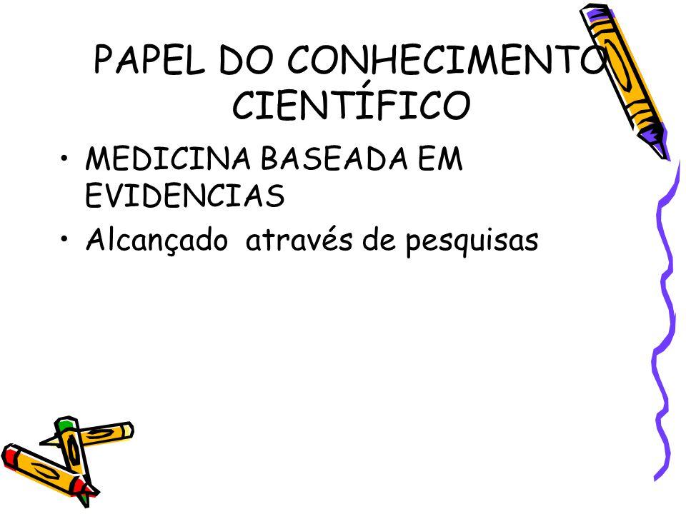 PAPEL DO CONHECIMENTO CIENTÍFICO