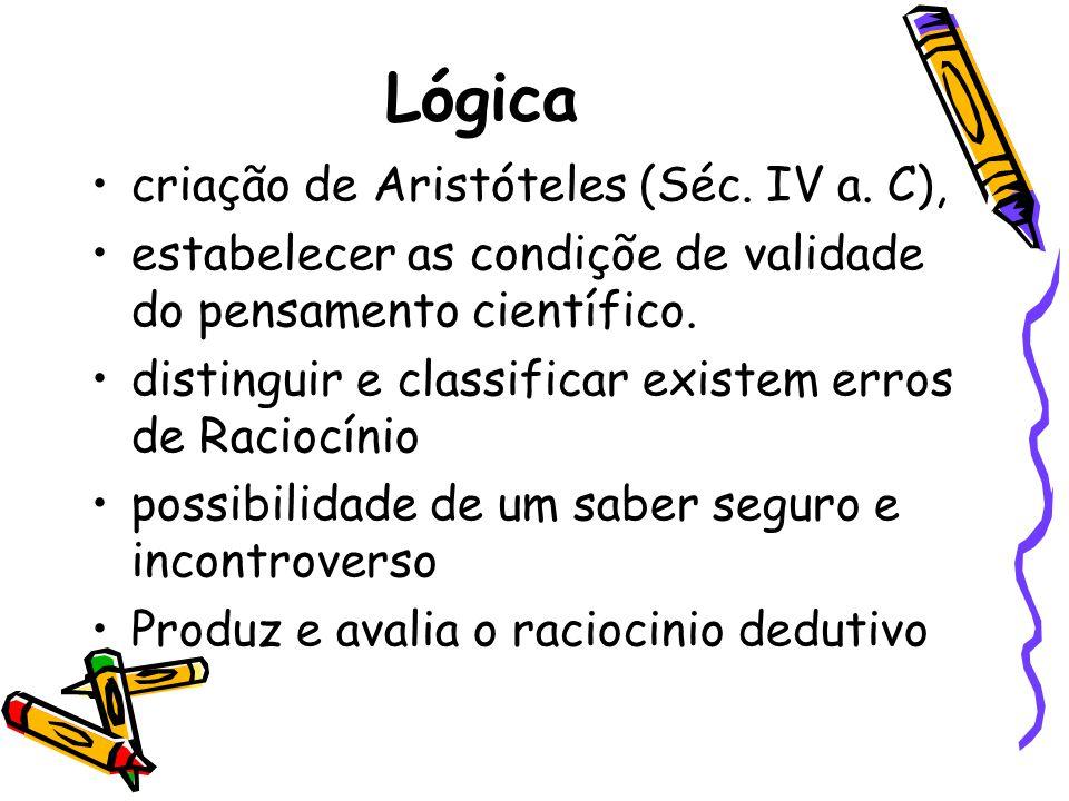 Lógica criação de Aristóteles (Séc. IV a. C),