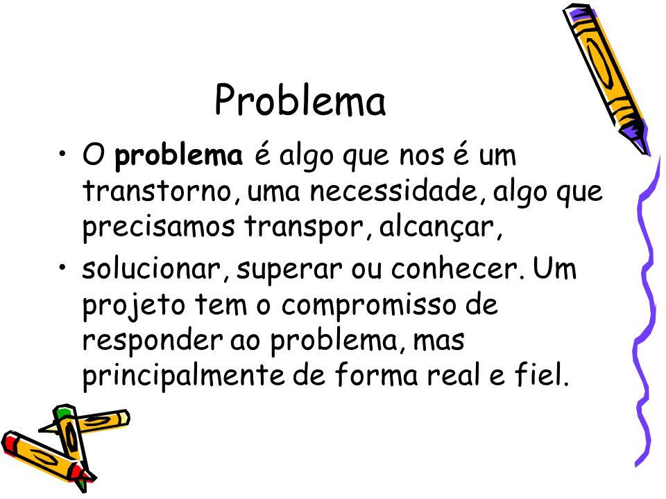 Problema O problema é algo que nos é um transtorno, uma necessidade, algo que precisamos transpor, alcançar,