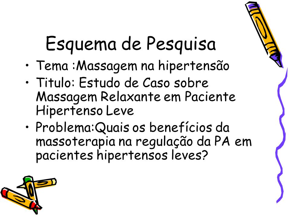 Esquema de Pesquisa Tema :Massagem na hipertensão