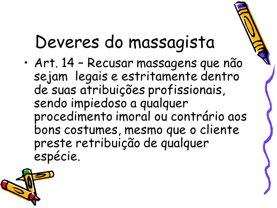 Deveres do massagista