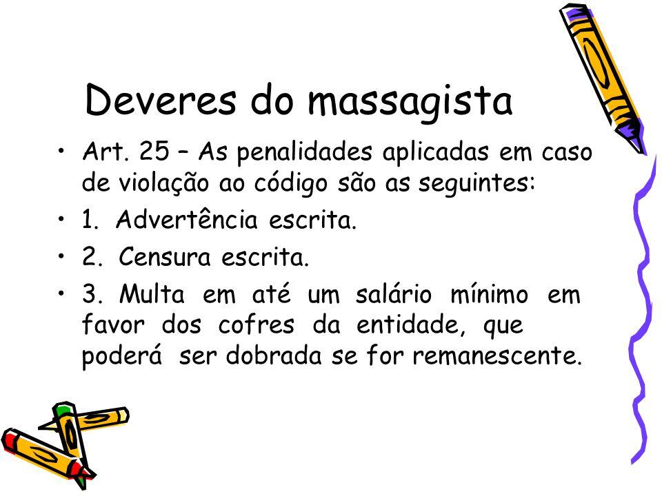 Deveres do massagista Art. 25 – As penalidades aplicadas em caso de violação ao código são as seguintes: