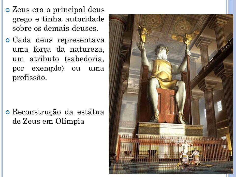 Zeus era o principal deus grego e tinha autoridade sobre os demais deuses.
