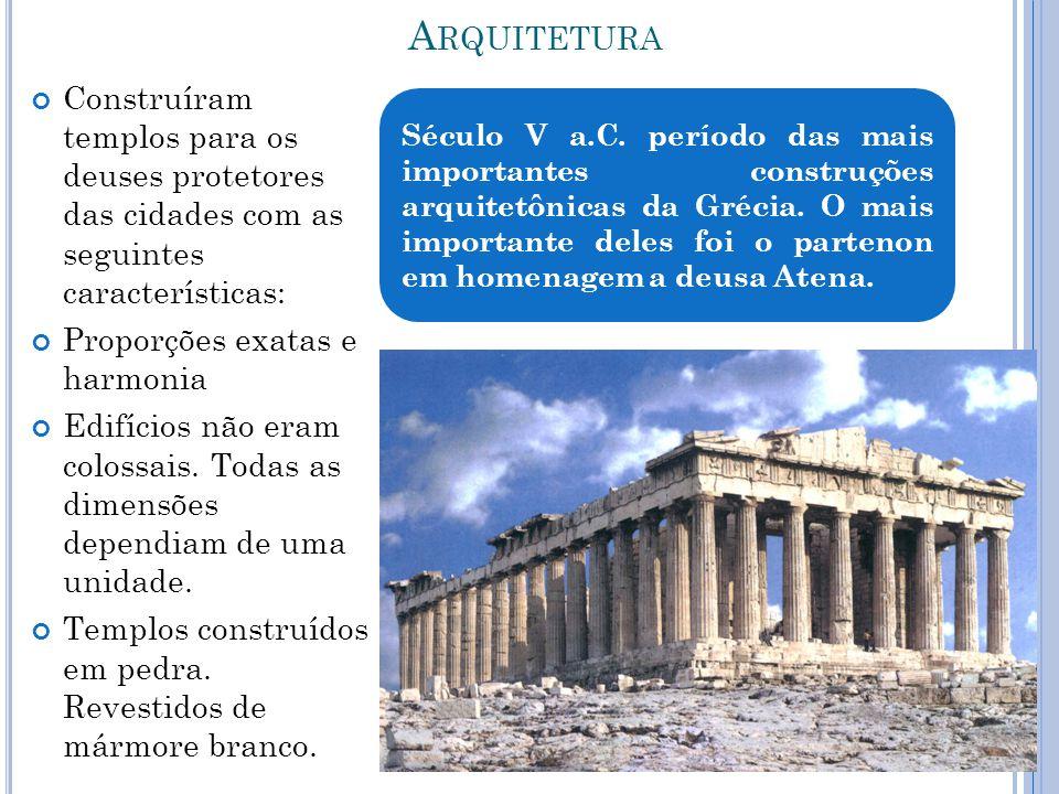 Arquitetura Construíram templos para os deuses protetores das cidades com as seguintes características: