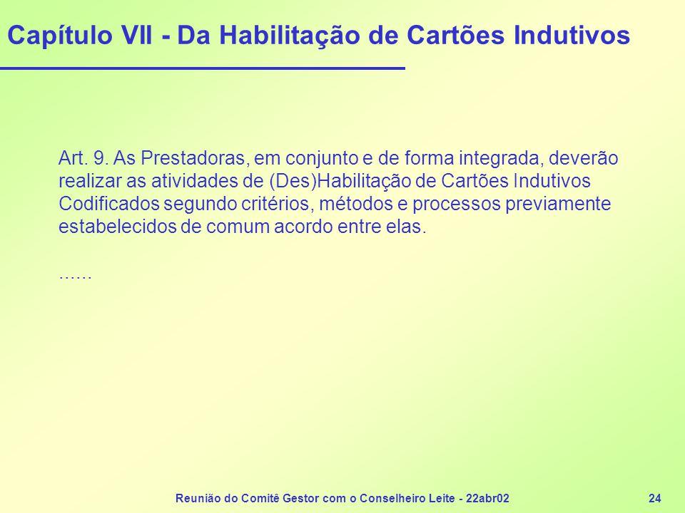 Capítulo VII - Da Habilitação de Cartões Indutivos