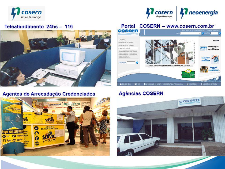 Teleatendimento 24hs – 116 Portal COSERN – www.cosern.com.br. Agentes de Arrecadação Credenciados.