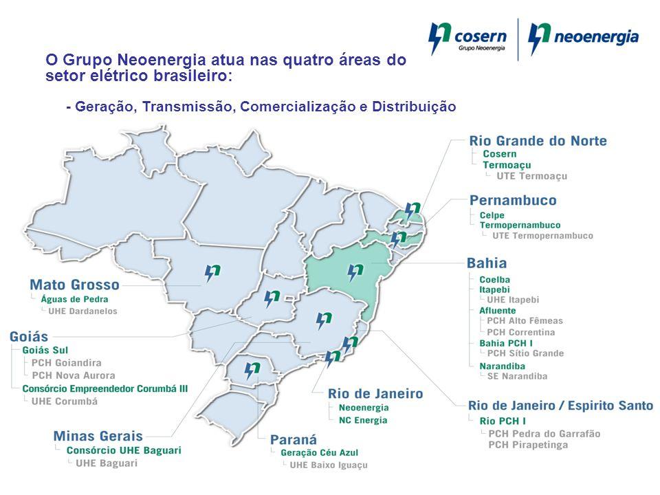 O Grupo Neoenergia atua nas quatro áreas do setor elétrico brasileiro: