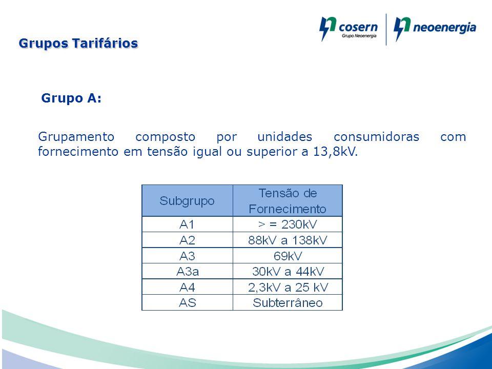 Grupos Tarifários Grupo A: Grupamento composto por unidades consumidoras com fornecimento em tensão igual ou superior a 13,8kV.