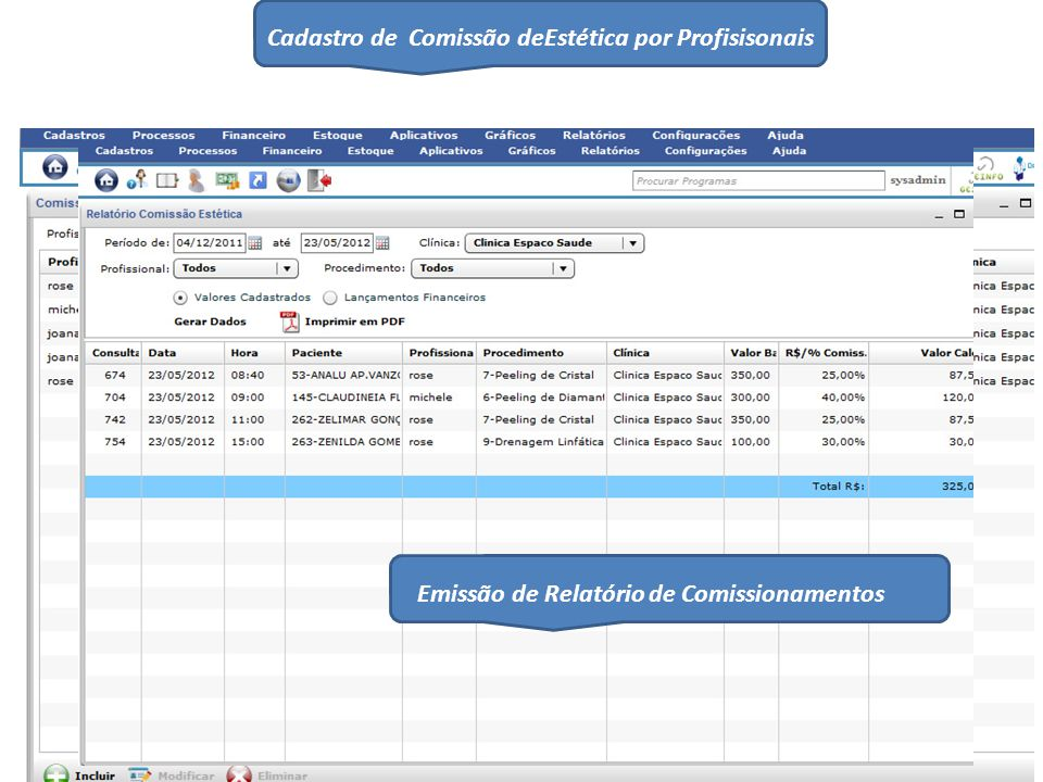 Cadastro de Comissão deEstética por Profisisonais