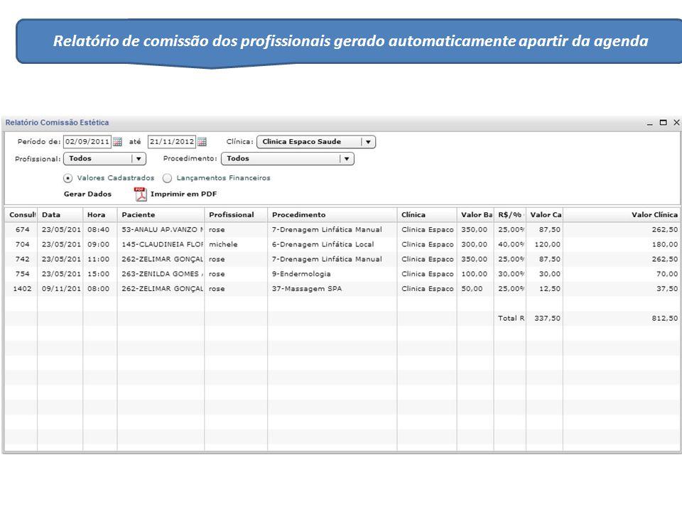 Relatório de comissão dos profissionais gerado automaticamente apartir da agenda