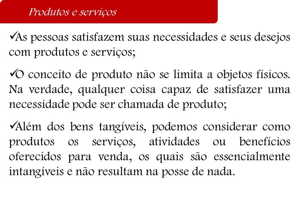 Produtos e serviços As pessoas satisfazem suas necessidades e seus desejos com produtos e serviços;