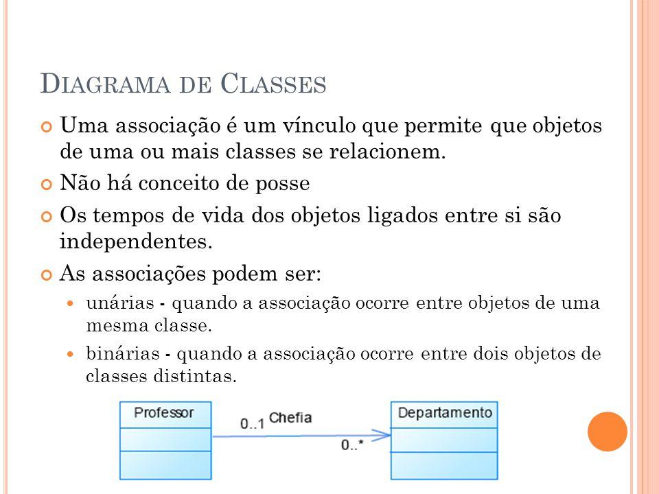Diagrama de Classes Uma associação é um vínculo que permite que objetos de uma ou mais classes se relacionem.