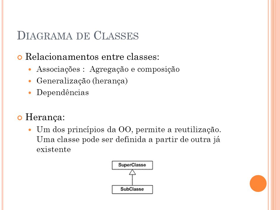 Diagrama de Classes Relacionamentos entre classes: Herança: