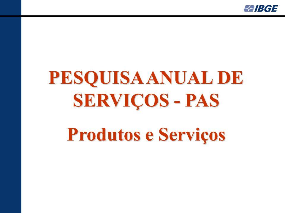 PESQUISA ANUAL DE SERVIÇOS - PAS