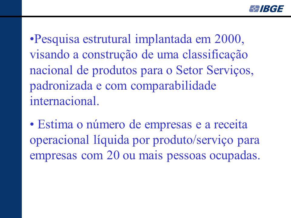 Pesquisa estrutural implantada em 2000, visando a construção de uma classificação nacional de produtos para o Setor Serviços, padronizada e com comparabilidade internacional.