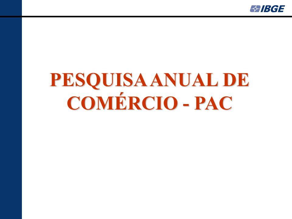 PESQUISA ANUAL DE COMÉRCIO - PAC