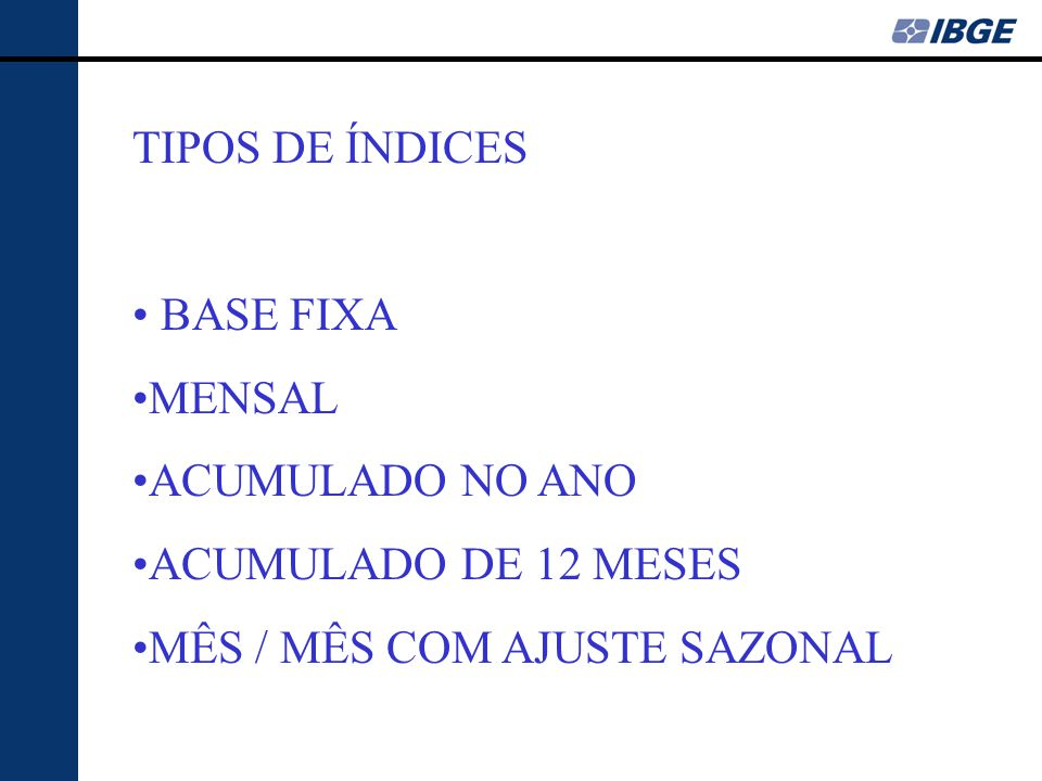 TIPOS DE ÍNDICES BASE FIXA. MENSAL. ACUMULADO NO ANO.