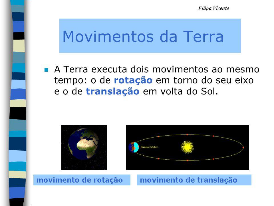 Movimentos da Terra A Terra executa dois movimentos ao mesmo tempo: o de rotação em torno do seu eixo e o de translação em volta do Sol.