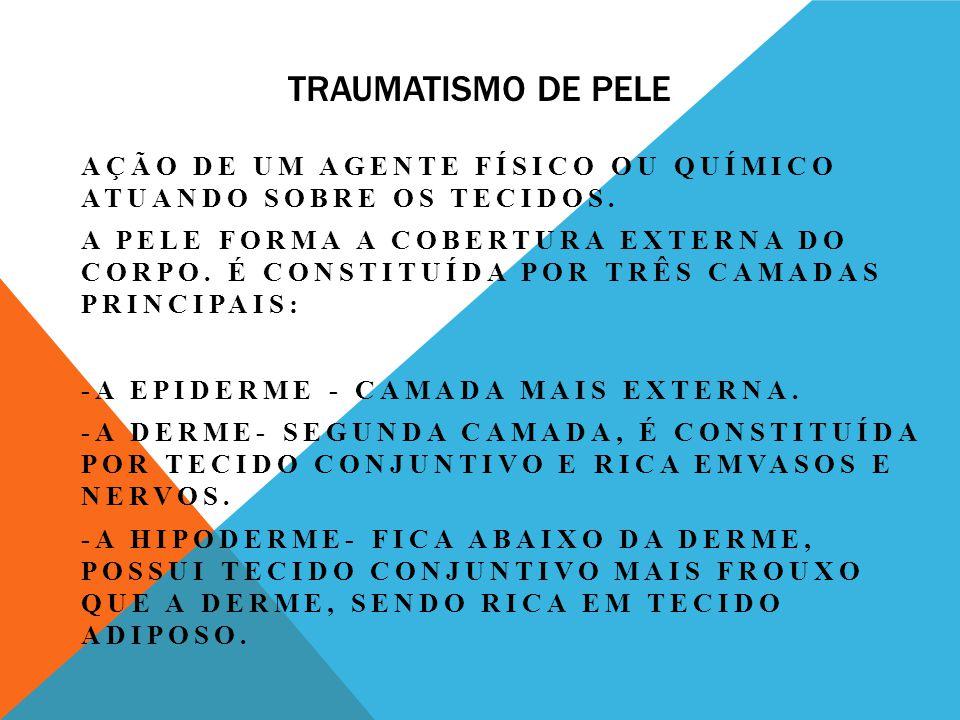 TRAUMATISMO DE PELE AÇÃO DE UM AGENTE FÍSICO OU QUÍMICO ATUANDO SOBRE OS TECIDOS.