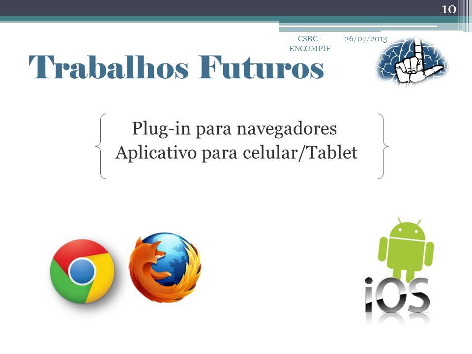 Plug-in para navegadores Aplicativo para celular/Tablet