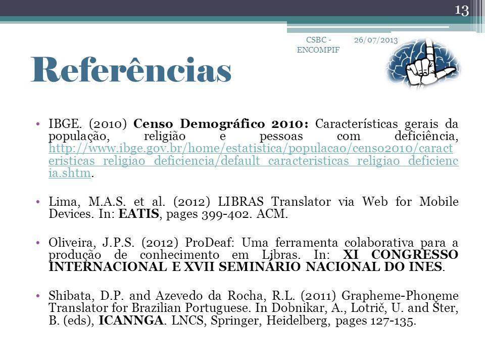 CSBC - ENCOMPIF 26/07/2013. Referências.