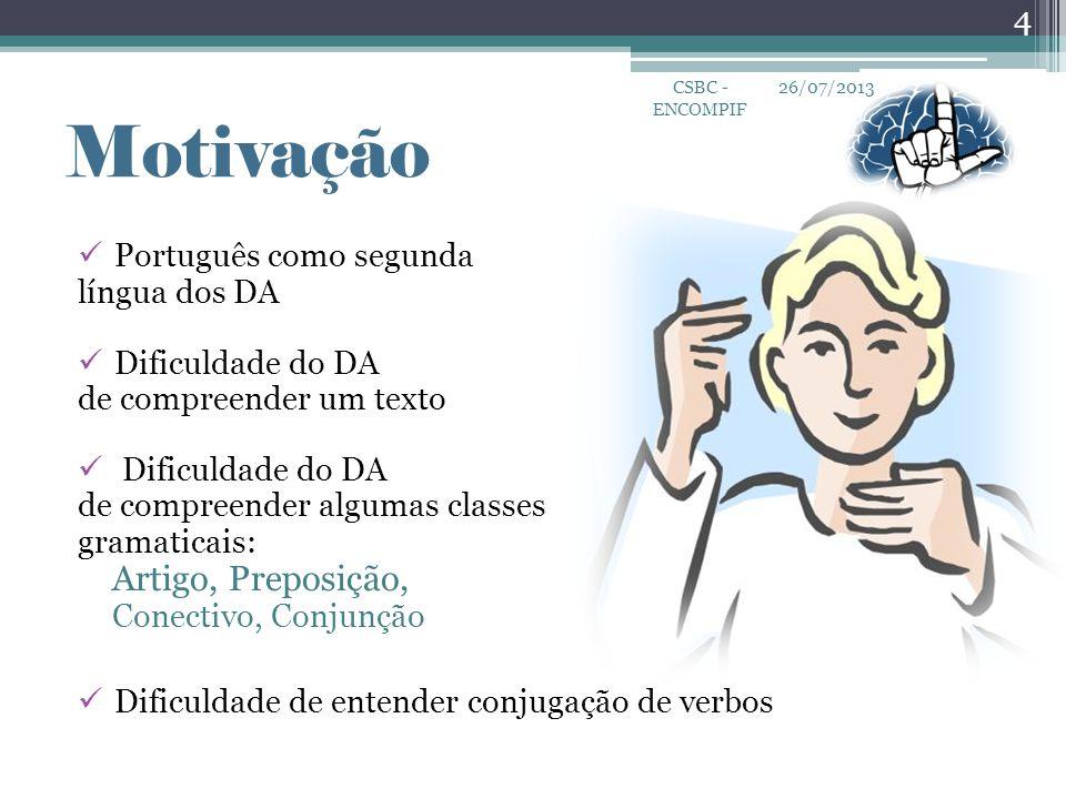 Motivação Artigo, Preposição, Português como segunda língua dos DA