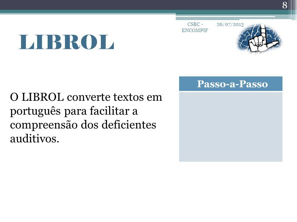 CSBC - ENCOMPIF 26/07/2013. LIBROL. Passo-a-Passo.