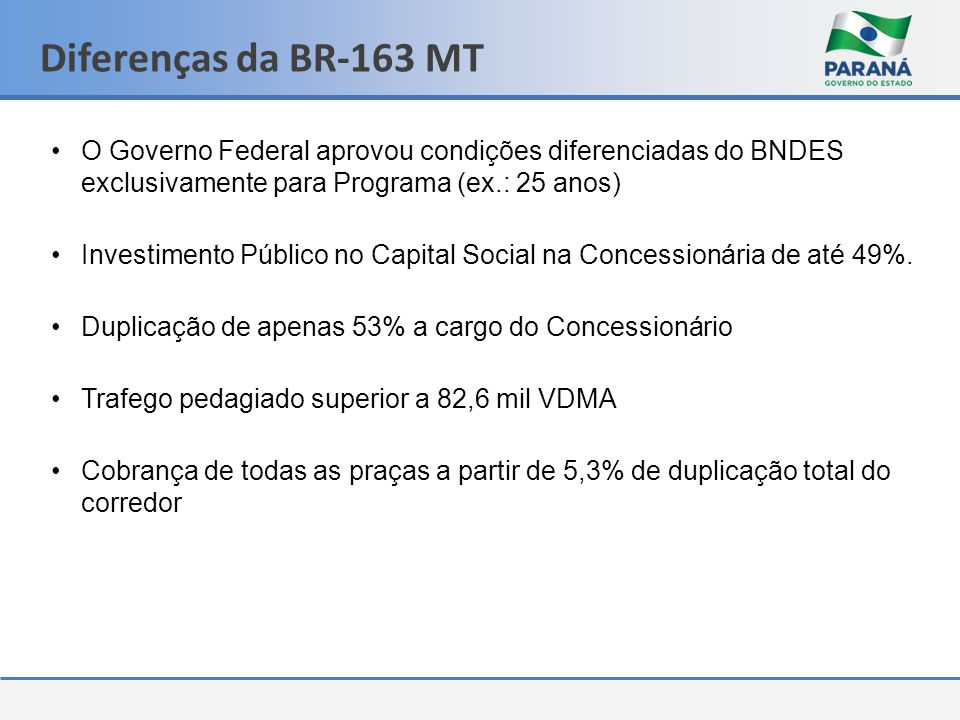 Diferenças da BR-163 MT O Governo Federal aprovou condições diferenciadas do BNDES exclusivamente para Programa (ex.: 25 anos)