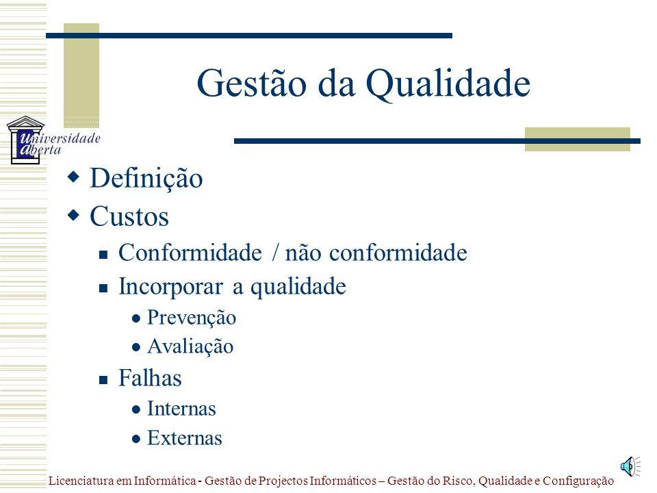 Gestão da Qualidade Definição Custos Conformidade / não conformidade