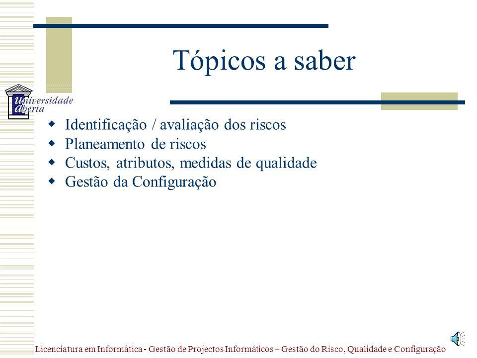 Tópicos a saber Identificação / avaliação dos riscos