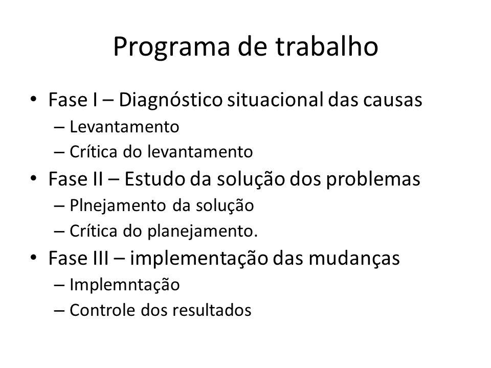 Programa de trabalho Fase I – Diagnóstico situacional das causas