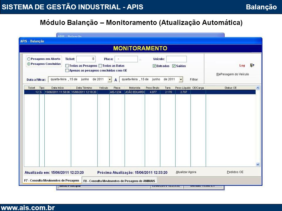 Módulo Balanção – Monitoramento (Atualização Automática)
