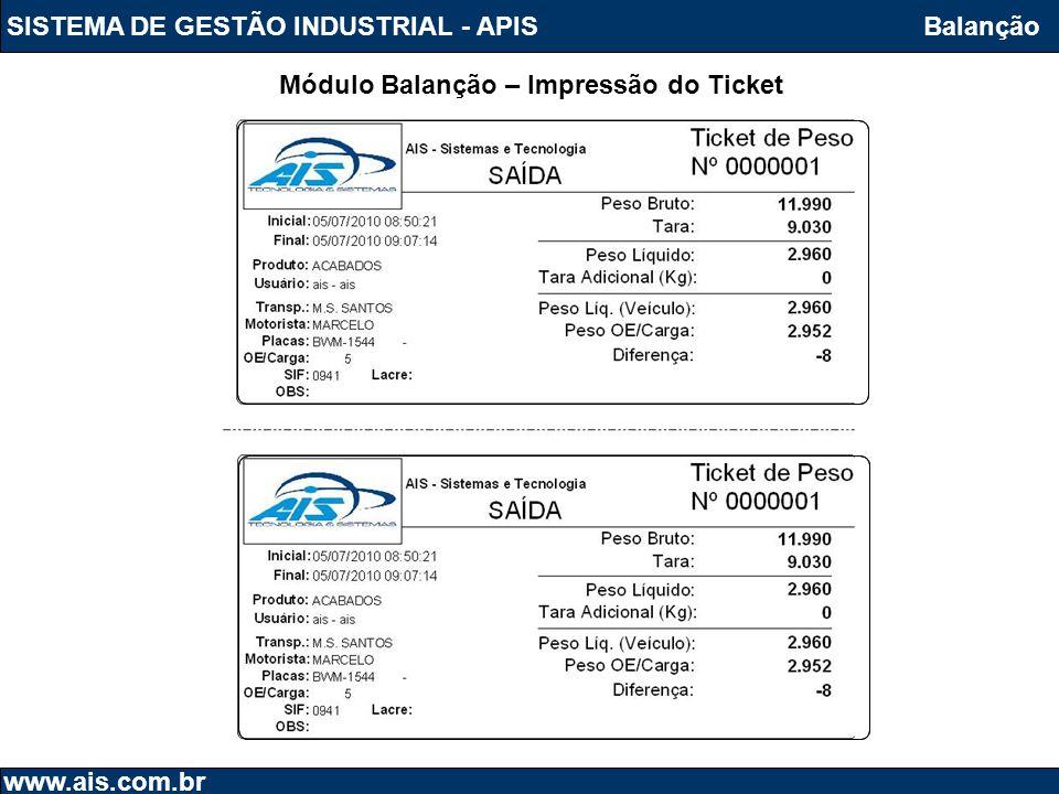 Módulo Balanção – Impressão do Ticket