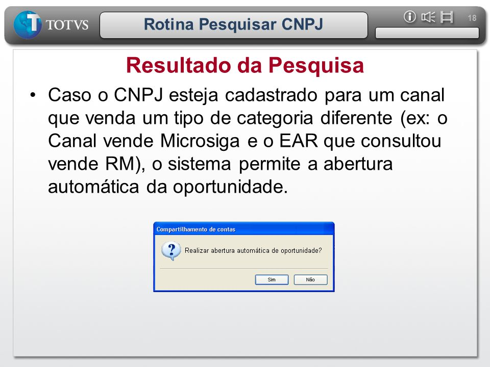 Rotina Pesquisar CNPJ Resultado da Pesquisa.