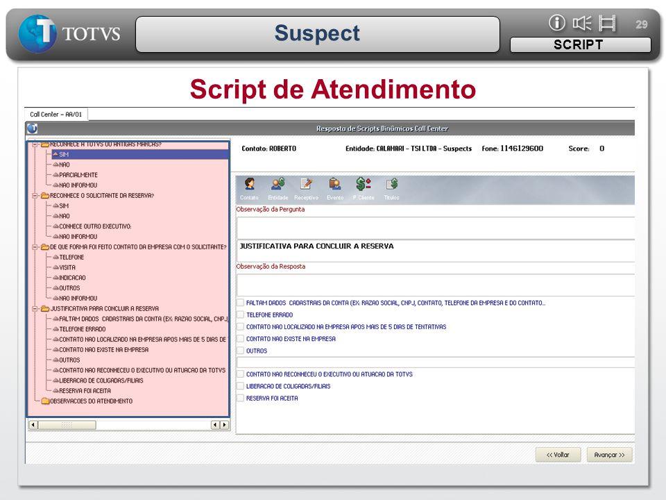 29 Suspect SCRIPT Script de Atendimento