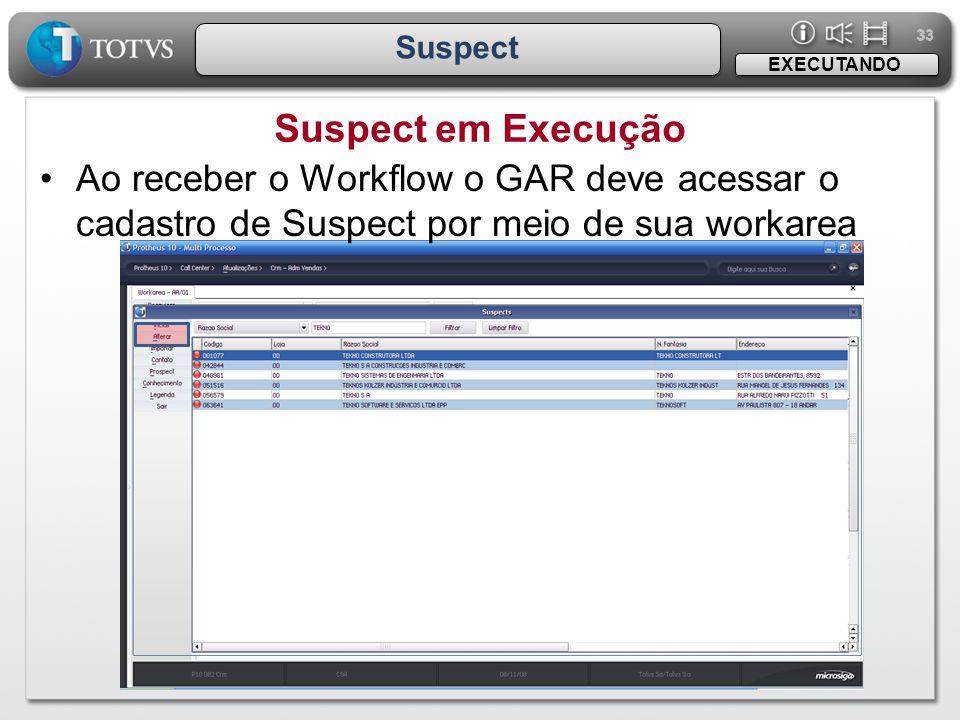 33 Suspect. EXECUTANDO. Suspect em Execução.