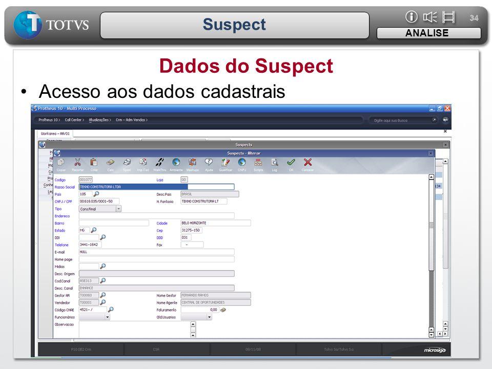 34 Suspect ANALISE Dados do Suspect Acesso aos dados cadastrais