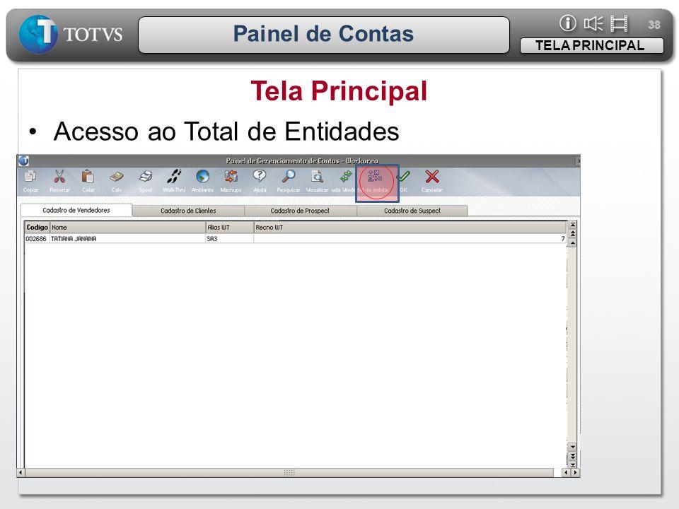 Tela Principal Acesso ao Total de Entidades Painel de Contas