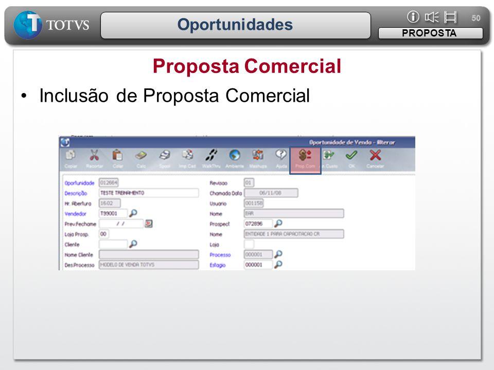Proposta Comercial Inclusão de Proposta Comercial Oportunidades