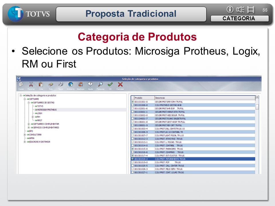 55 Proposta Tradicional. CATEGORIA. Categoria de Produtos.
