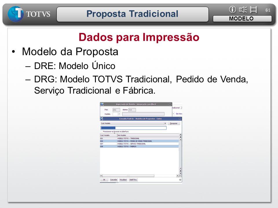 Dados para Impressão Modelo da Proposta Proposta Tradicional