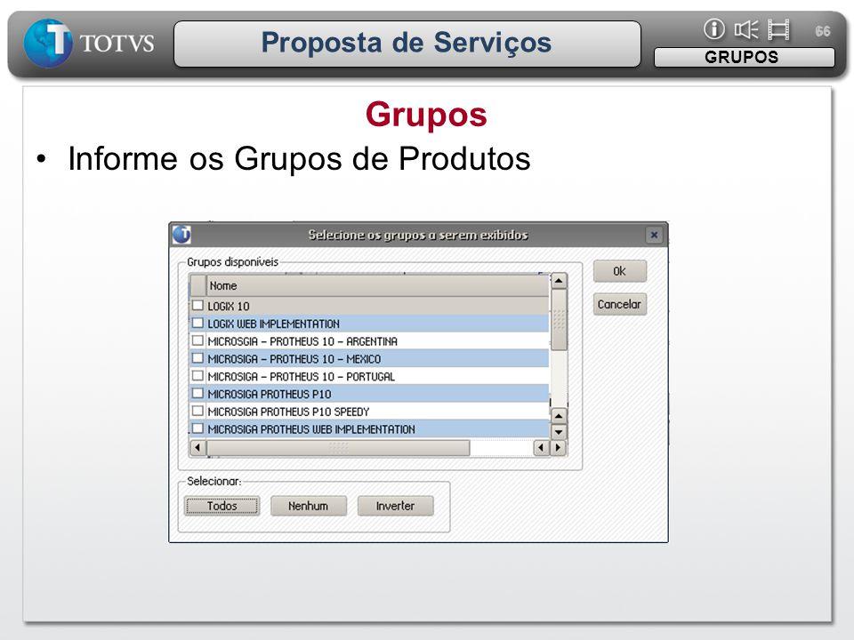 66 Proposta de Serviços GRUPOS Grupos Informe os Grupos de Produtos