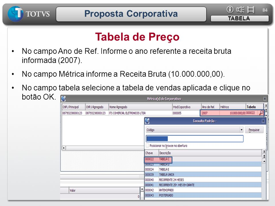 Tabela de Preço Proposta Corporativa