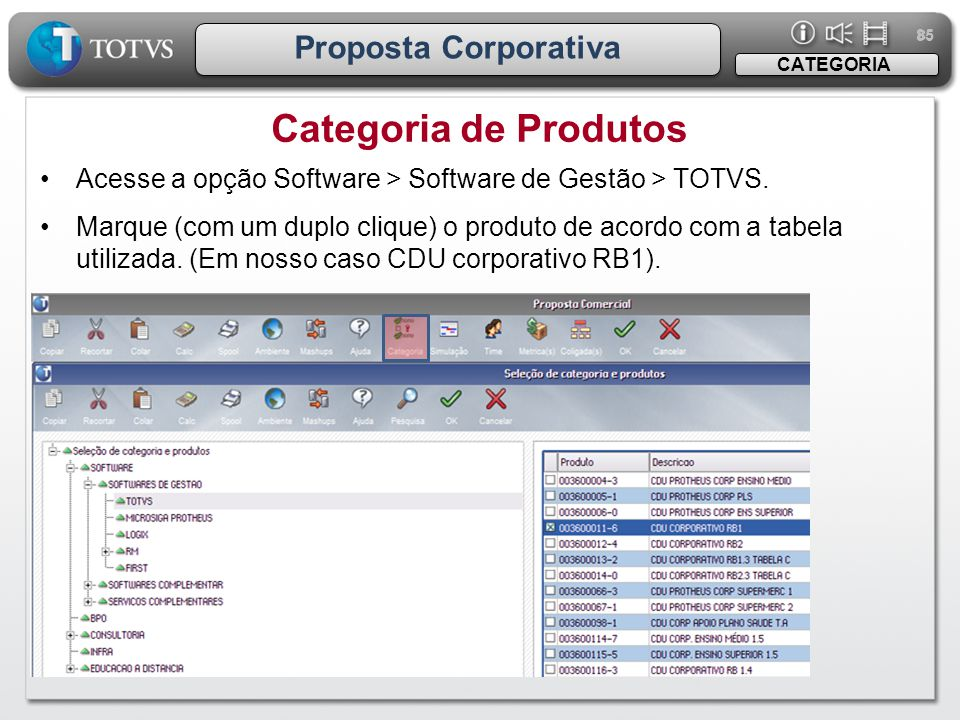 Categoria de Produtos Proposta Corporativa