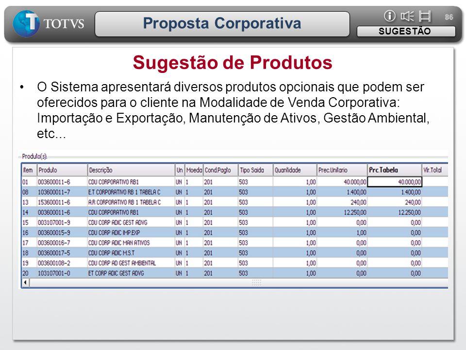 Sugestão de Produtos Proposta Corporativa