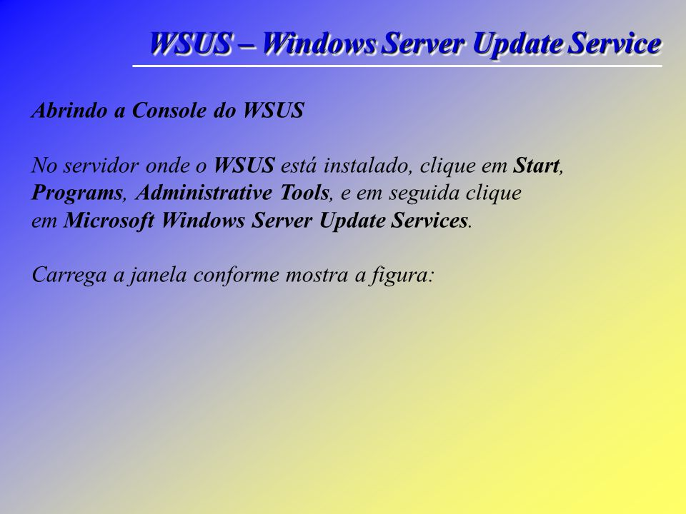 WSUS – Windows Server Update Service