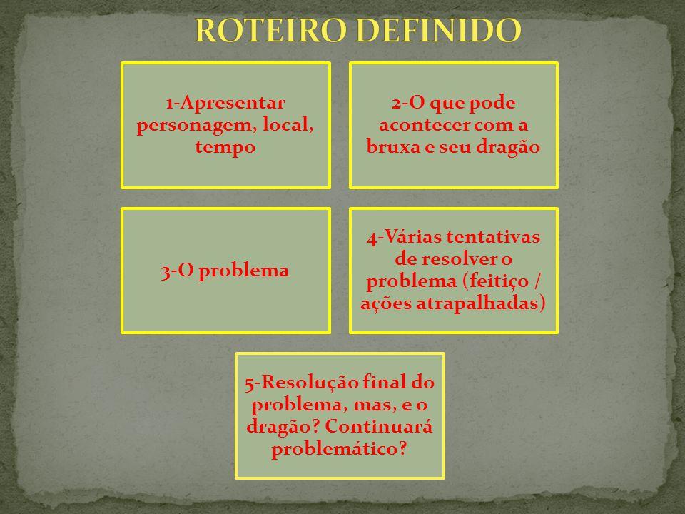 ROTEIRO DEFINIDO 1-Apresentar personagem, local, tempo