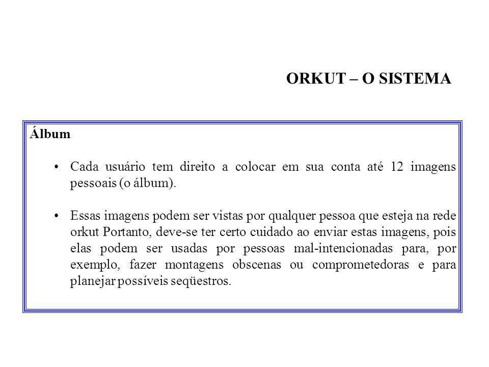 ORKUT – O SISTEMA Álbum. Cada usuário tem direito a colocar em sua conta até 12 imagens pessoais (o álbum).