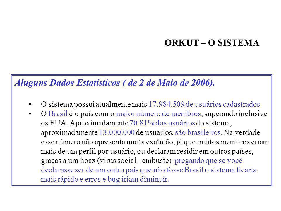 Aluguns Dados Estatísticos ( de 2 de Maio de 2006).